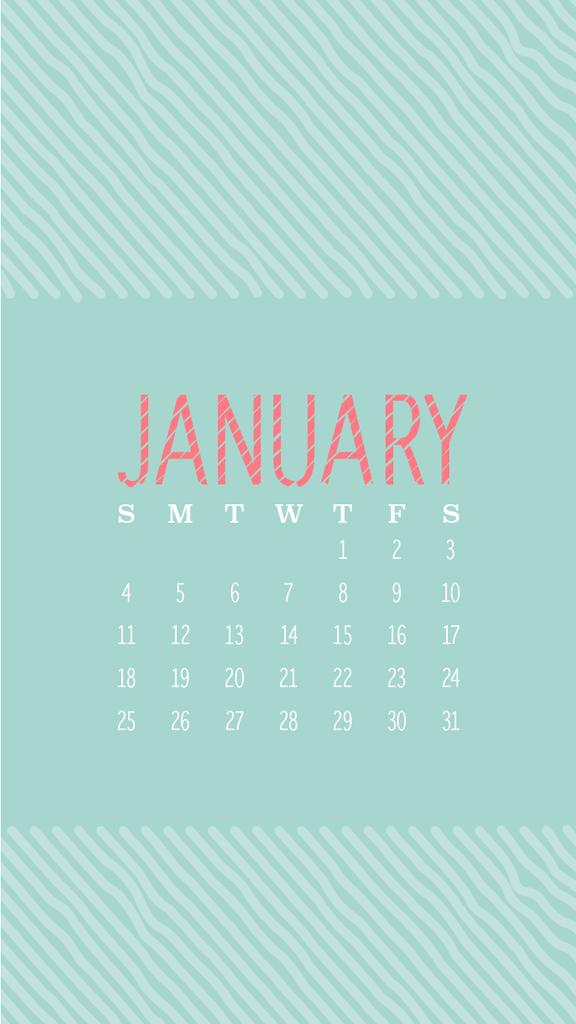 Aqua coral stripes January calendar phone wallpaper iphone