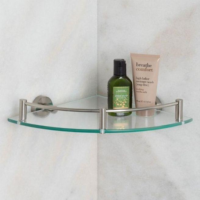 Nifty Shape Of Glass Bathroom Shelves Brushed Nickel Interior Design ...