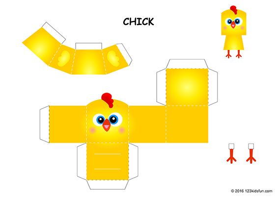 Free Easter Paper Craft Chick Mini Paper Toy For Kids Paper