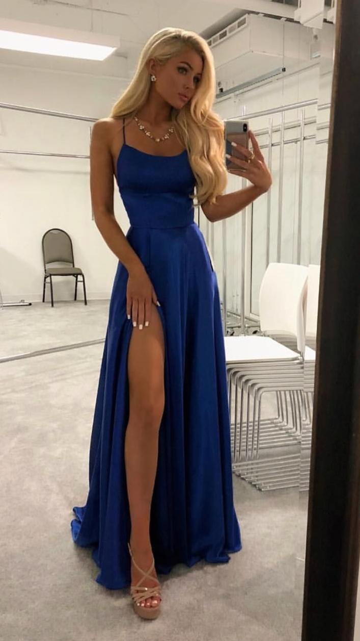 Simple Blue Spaghetti Straps Long Prom Dresses Eve