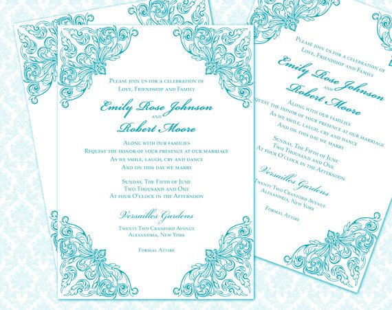 DIY Wedding Invitation Printable Template X By WeddingsbyJanieV - 5x7 invitation template