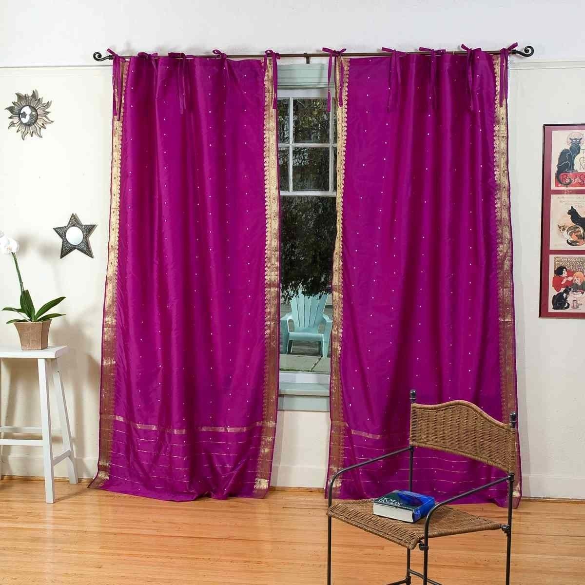Violet Red Tie Top Sheer Sari Curtain Drape Panel Pair