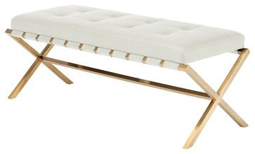 Auguste Bench In Gold Finish, White, Small contemporary-upholstered-benches