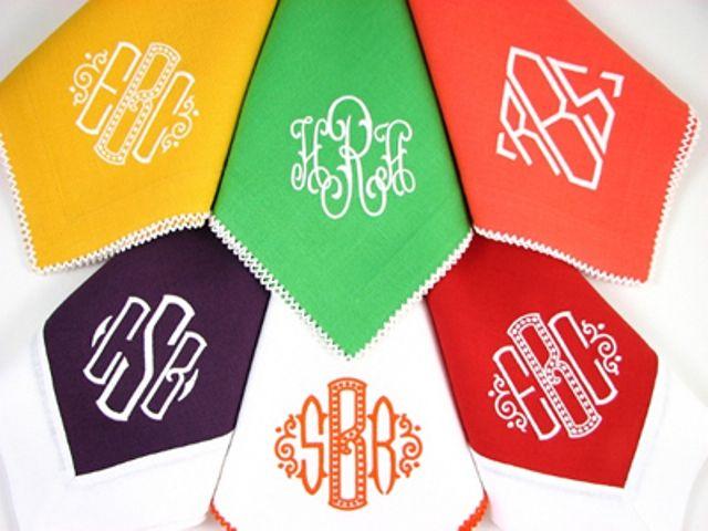 monograms napkins in fun colorslove it