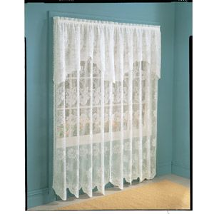 Anna Lace Curtain Panel With Attached Valance Set Of 2 Lace