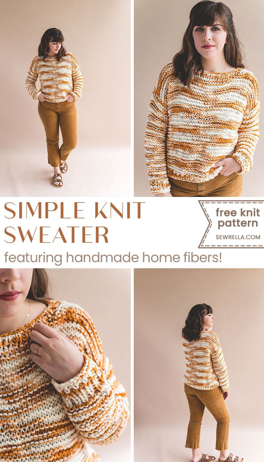 20304affc This sweater is the perfect challenge for beginner knitters! Learn the easy  basics while constructing a pretty sweater!  knit  sweater  howto  sewrella   diy ...