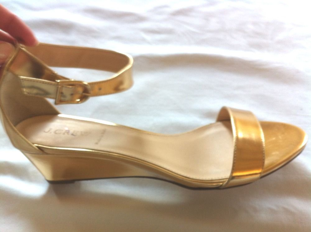 8f0baaa6963 J. Crew 9.5 Lillian Gold Metallic Low Wedge Sandals NEW 19556  188 SOLD OUT   JCrew  Strappy
