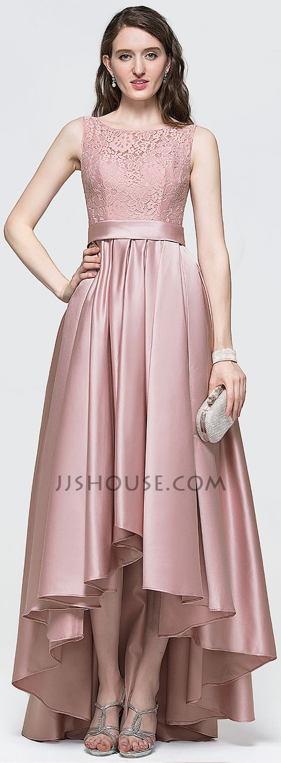 A-Line/Princess Scoop Neck Asymmetrical Satin Prom Dresses With Bow ...