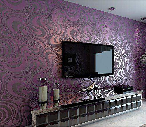 QIHANG Moderne Luxus Abstrakte Kurve 3d Tapete Rolle Beflockung Für Striped Lila  Farbe 0.7m * 8.4m U003d 5.88㎡