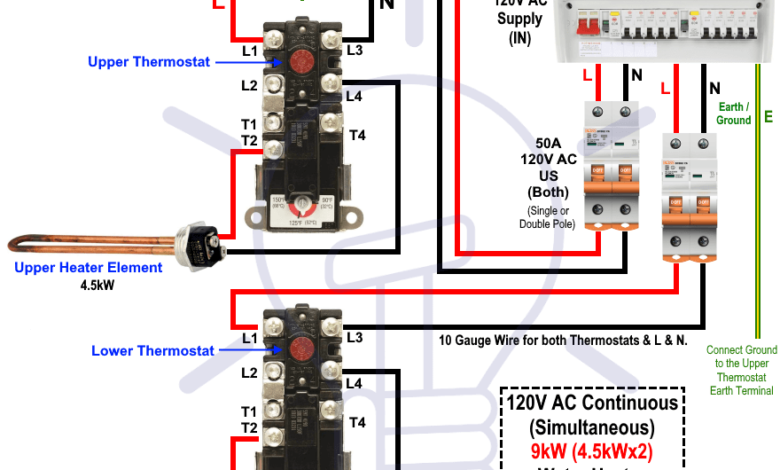How to Wire 120V Simultaneous Water Heater Thermostat? in
