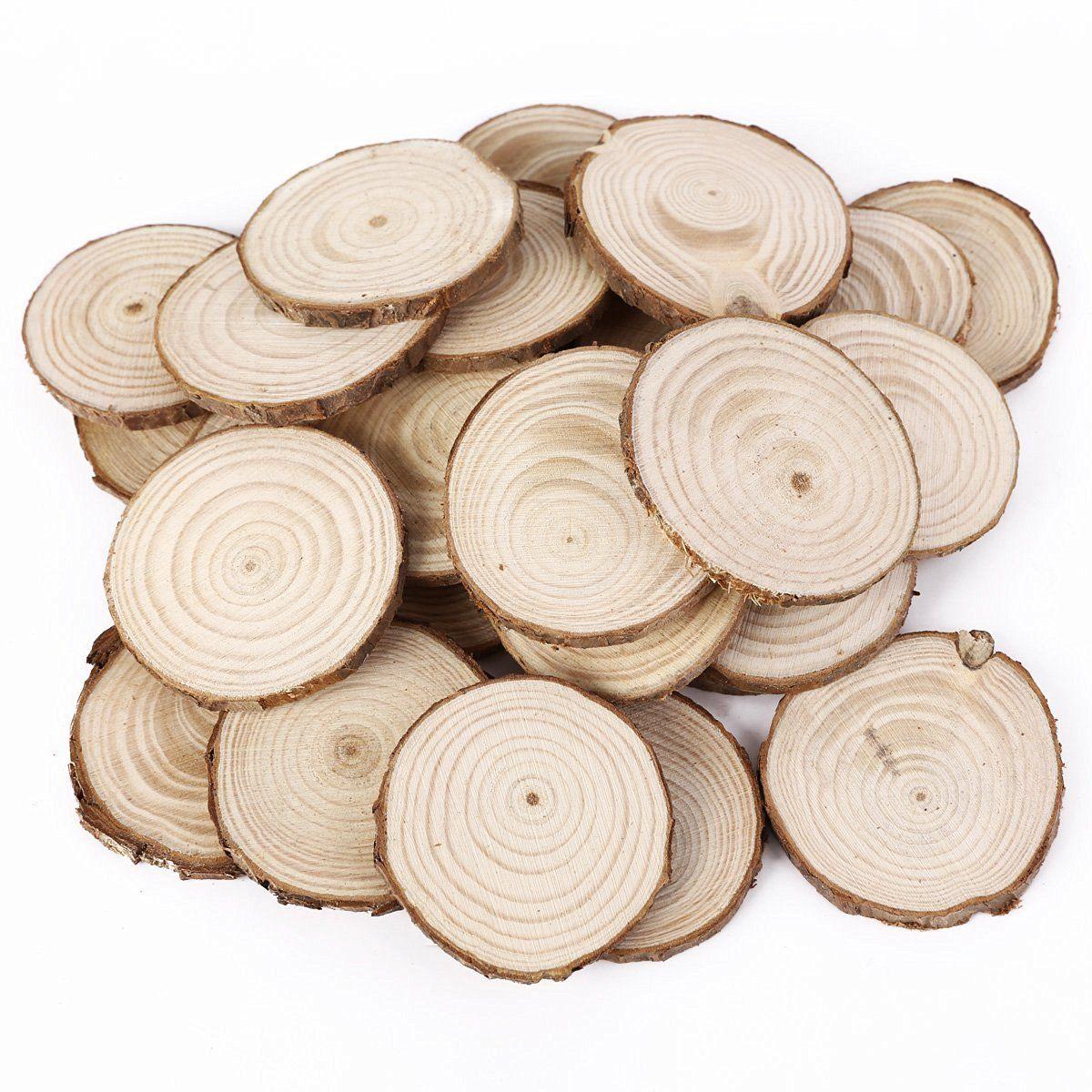 25PCS 5CM Wooden Wood Log Slices Discs Natural Tree Bark Table ...