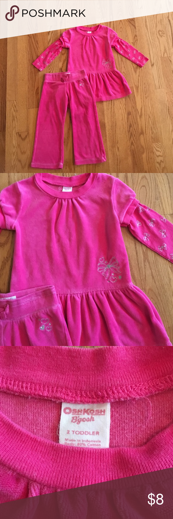 OshKosh two piece set, 2T Girl's pink velour OshKosh B'gosh two piece set, size 2T. Sleeves have sparkly bow pattern. Soft and snuggly. Comes from a smoke free and pet free home. Osh Kosh Matching Sets