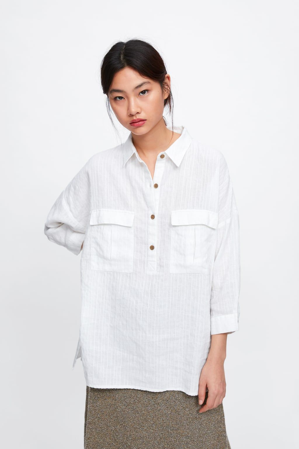 e4fd90860a OVERSIZED SHIRT WITH POCKETS - SHIRTS | BLOUSES-WOMAN | ZARA United ...
