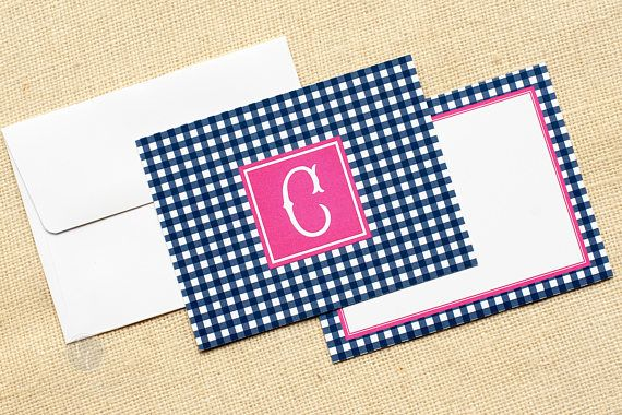 Gingham Notecards and Envelopes - Monogram Stationery - Preppy