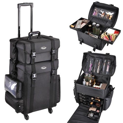 AW® 2in1 15 x 11 x 25 In. Black Soft Sided Rolling Makeup Case Oxford Cosmetic Bag W/ Drawers Valentines gift