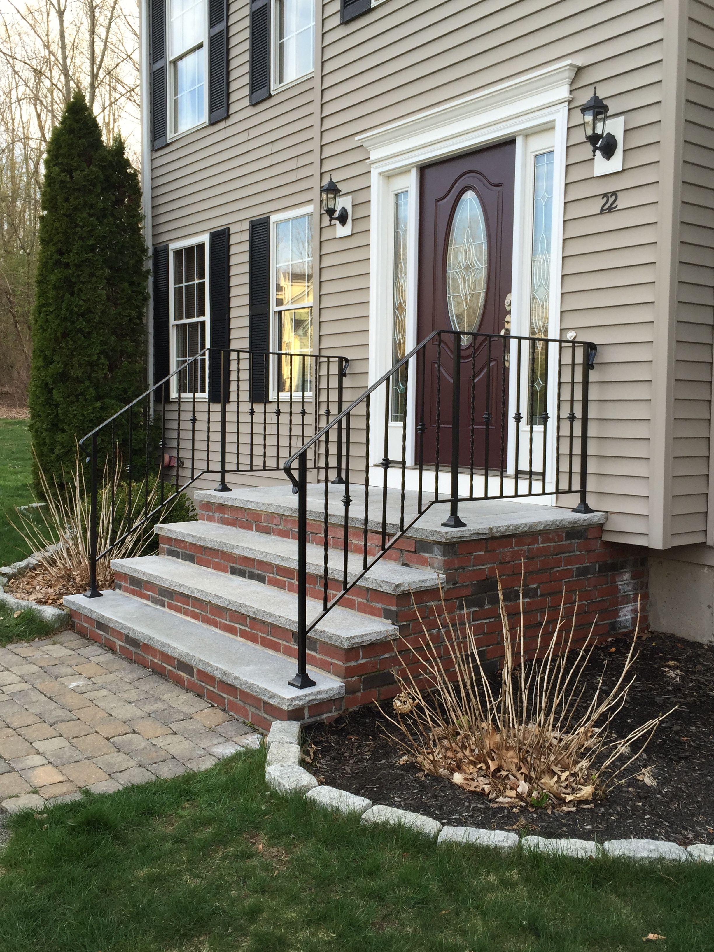Wrought Iron Railings Granite Steps Cranberry Door With Sidelights Front Door Steps Wrought | Wrought Iron Railings For Outside Steps