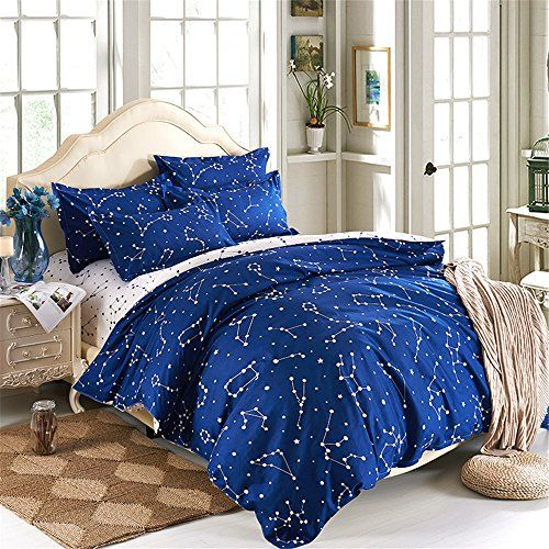 Esydream Home Bedding Blue Color Constellation 4pc Duvet Https