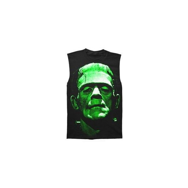 FRANKENSTEIN Face T-shirt Rockabilia (1.940 RUB) ❤ liked on Polyvore featuring tops and green top