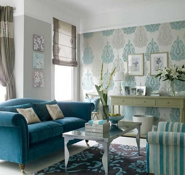 Modern Living Room Design And Decor Beautiful Wallpaper Floor Rug And Furniture Upholster Living Room Turquoise Teal Living Rooms Accent Walls In Living Room
