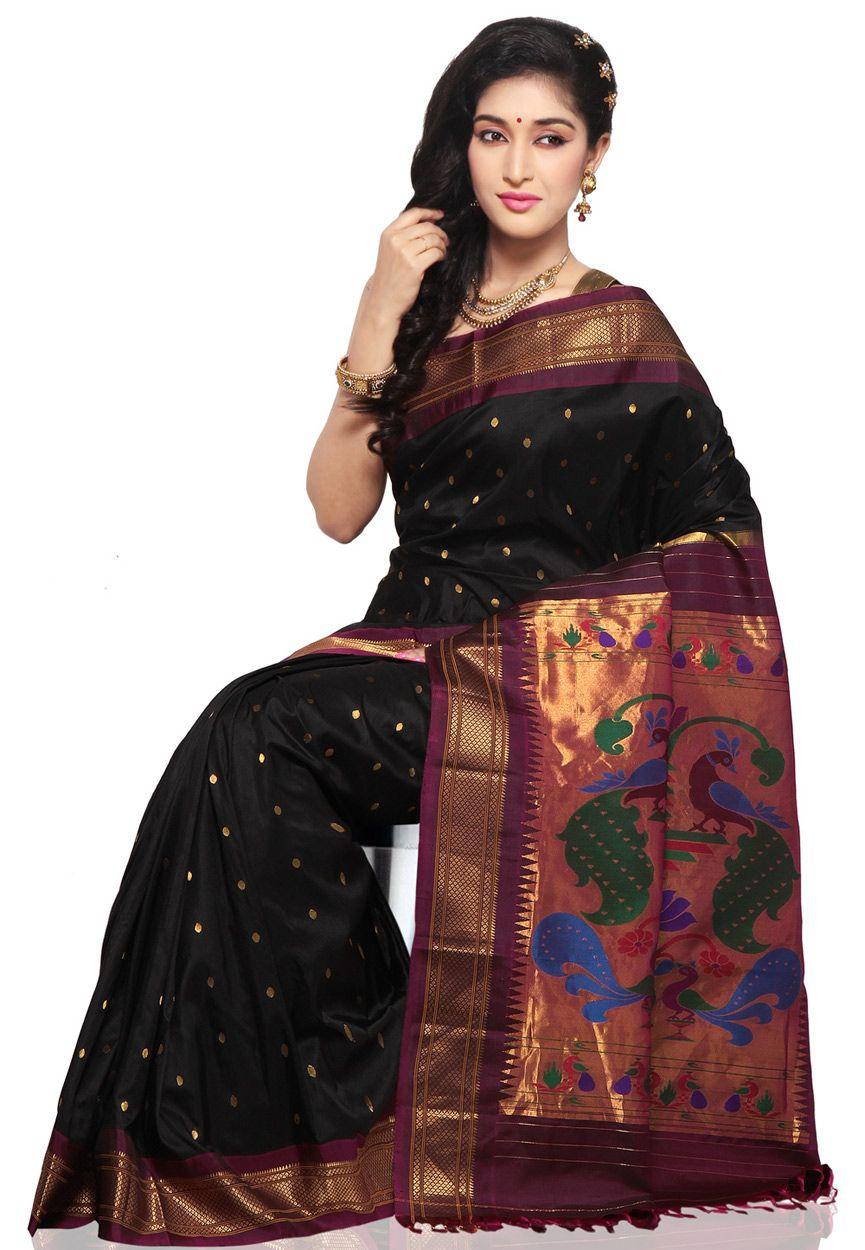 Saree images paithani black pure silk paithani saree  sareeezzzzzzz  pinterest  pure