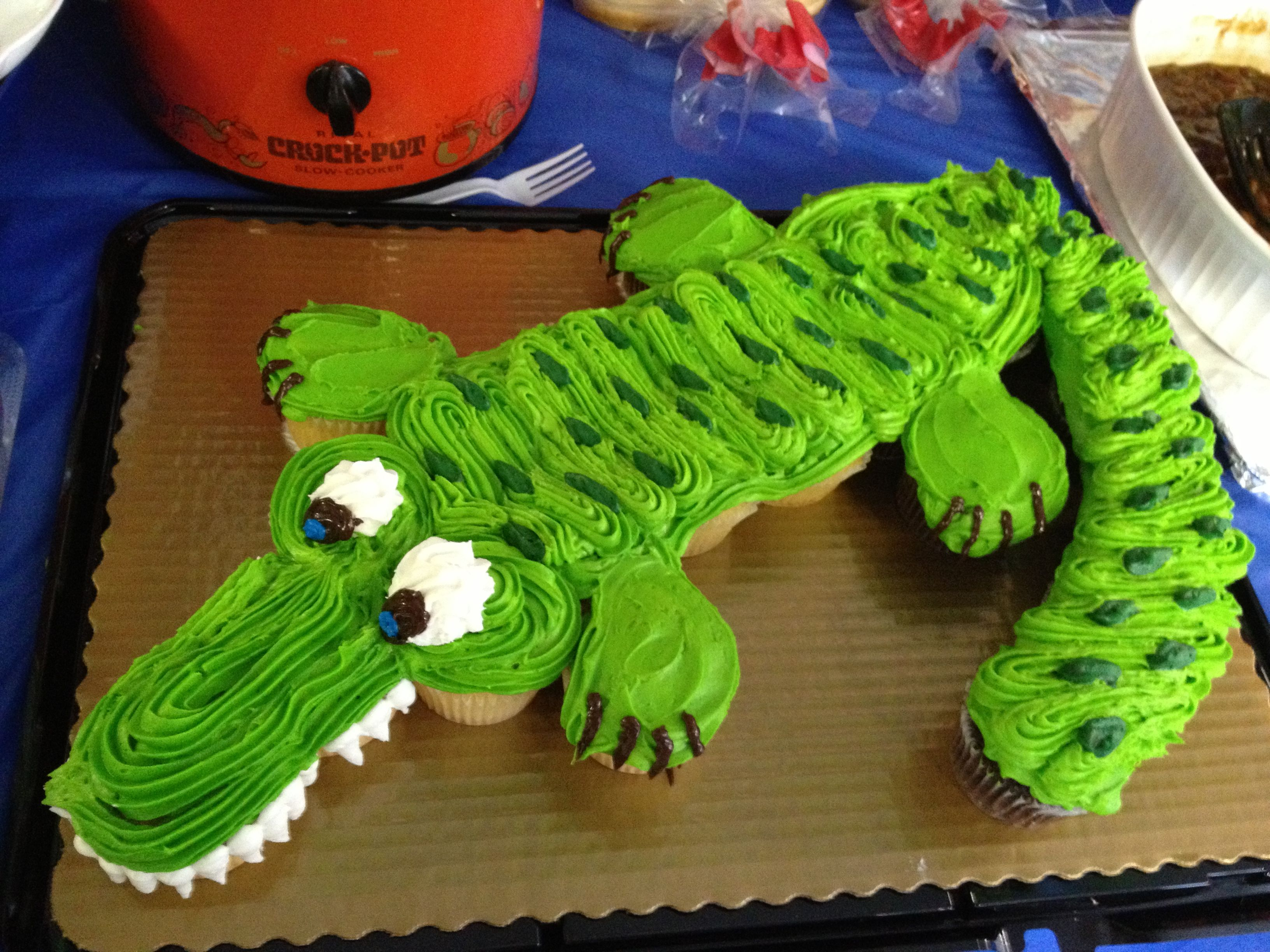 Alligator Birthday Party Cupcake Cake Made At Kroger