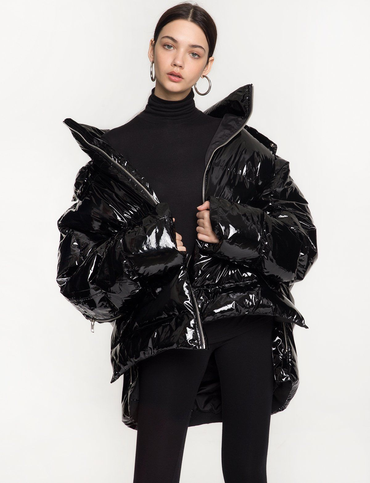 Black Shiny Oversize Puffy Jacket With Hood And Zip Bottom Made By Us100 Polyester With Down Lininglength Puffy Jacket Outfit Puffy Coat Puffer Jacket Outfit [ 1563 x 1200 Pixel ]