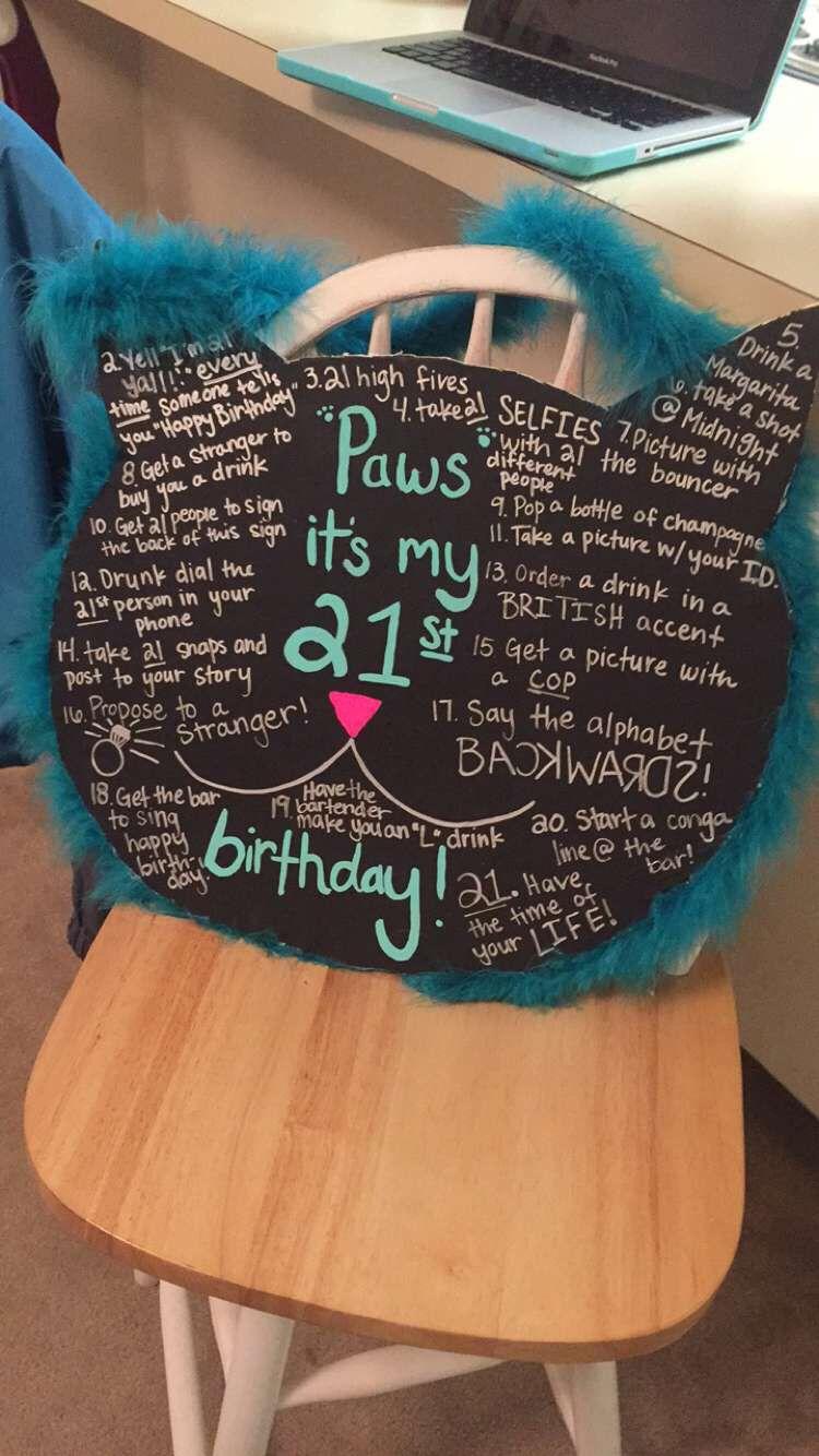 Lauren S 21st Birthday Cat Sign 21st Birthday Checklist 21st Birthday Signs Checklist Birthday Party 21