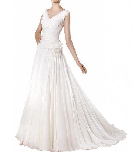 Gorgeous Bride Schlicht Lang Chiffon V-Ausschnitt A-Linie Blumen ...
