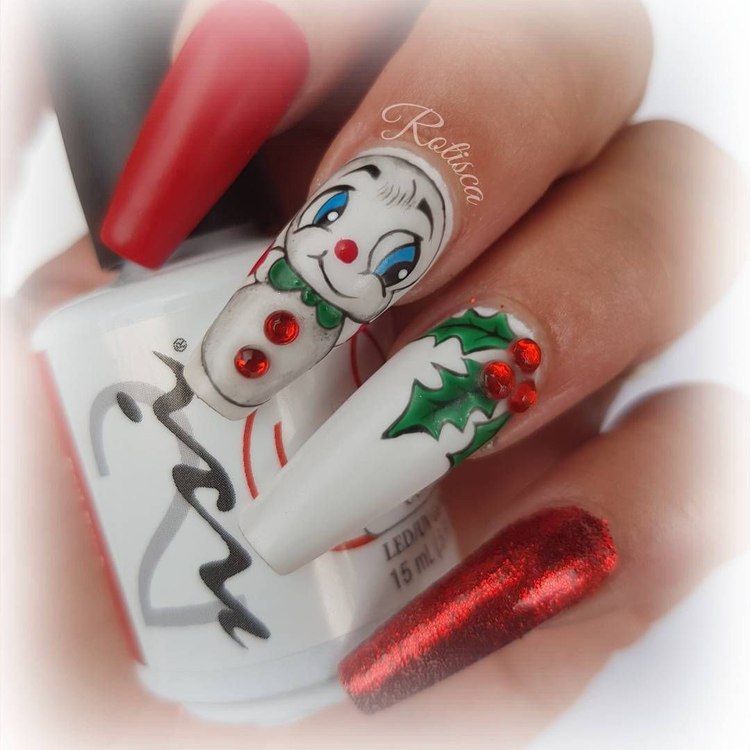 Love these cute snowman nails winter nail designs pinterest love these cute snowman nails prinsesfo Images