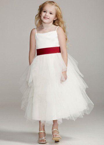 1adb1187a5c48 David's Bridal Flower Girl Dress I'd like it with a jeweled belt instead.  Tiered Tea-Length Tulle Dress Ivory David's ...