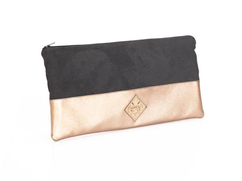 Kulturbeutel - Clutch, Tasche, schwarz, kupfer Metallic - ein Designerstück von herden-tier bei DaWanda