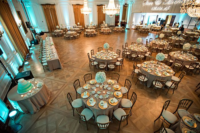 Richard Nixon Library Wedding Reception With Mint And Gold