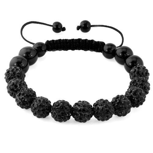Black Shamballa Bracelet Swarovski Crystal Cz Stone Disco Balls Beaded Bracelets Bracelets Shamballa Pugster Com