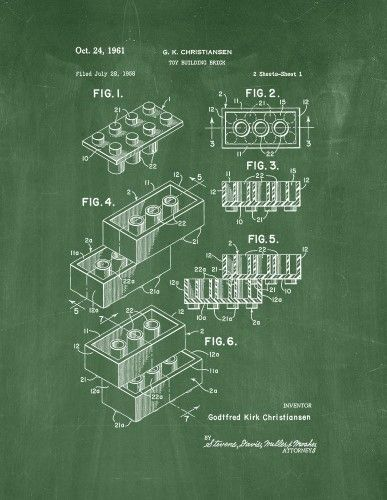 Lego toy building block patent print art poster green chalkboard lego toy building block patent print art poster green chalkboard 85 x 11 malvernweather Image collections