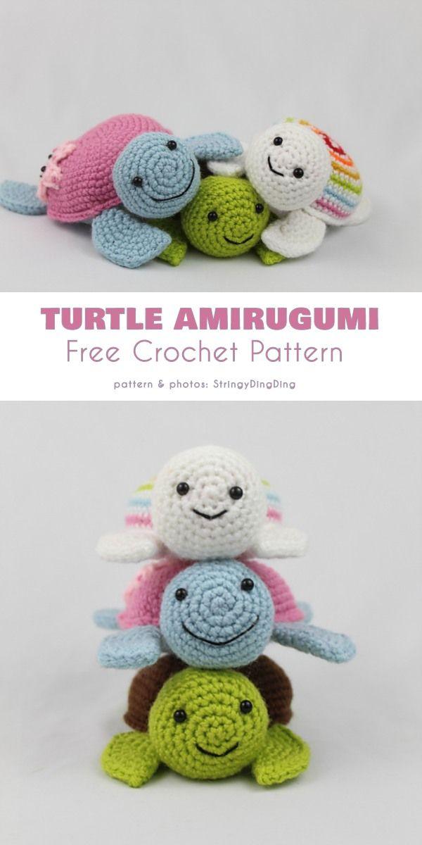 Baby Turtle Amigurumi Free Crochet Pattern #crochetturtles