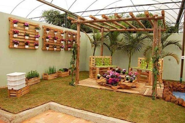 les palettes en tant que mobilier de jardin cratif - Mobilier De Jardin En Bois De Palette