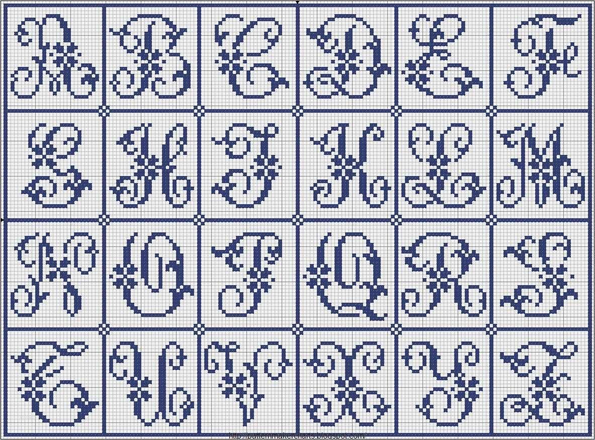 Romantisches Alphabet Mit Herzen Sticken 12
