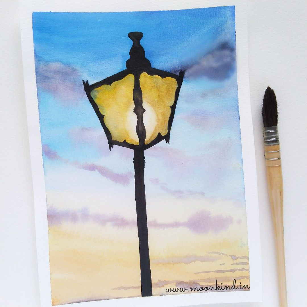The Light Is Getting Brighter Street Lamp Post Watercolor