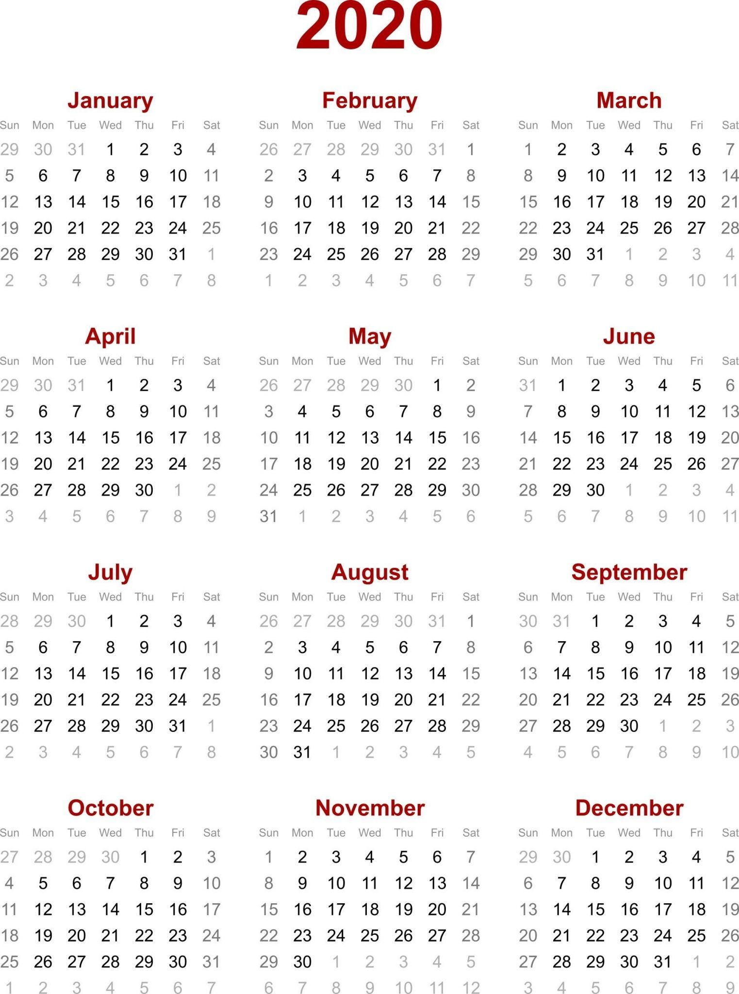 Chinese Calendar 2020 Printable Template Calendar Template Calendar Printables Calendar 2020