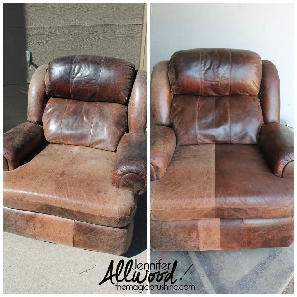 Refreshing Worn Leather With Leather Paint the before