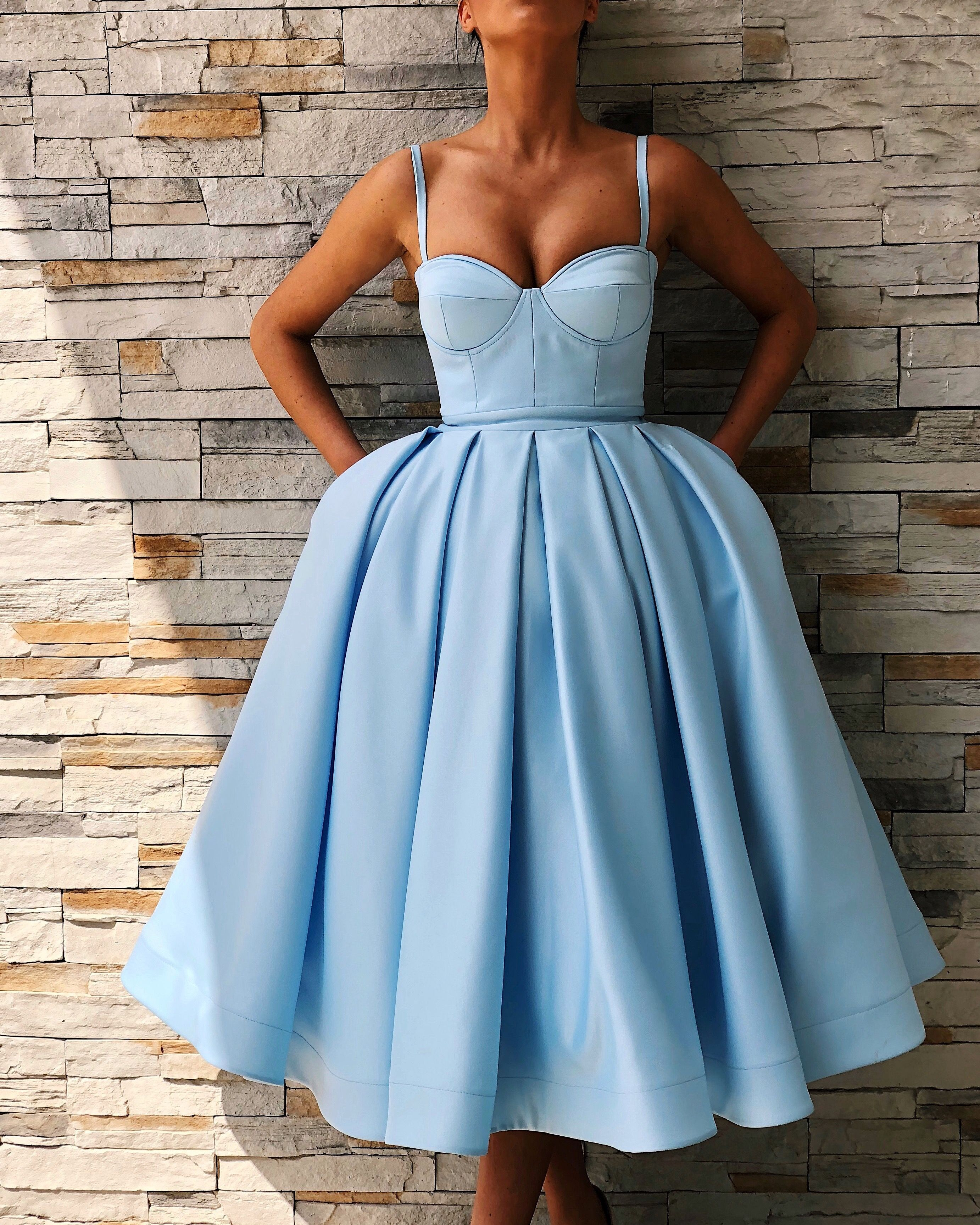 e383176468 Cute Sweetheart Satin Short Prom Dress Tea Length Ball Gown Party Dresses  with Spaghetti Straps on Storenvy