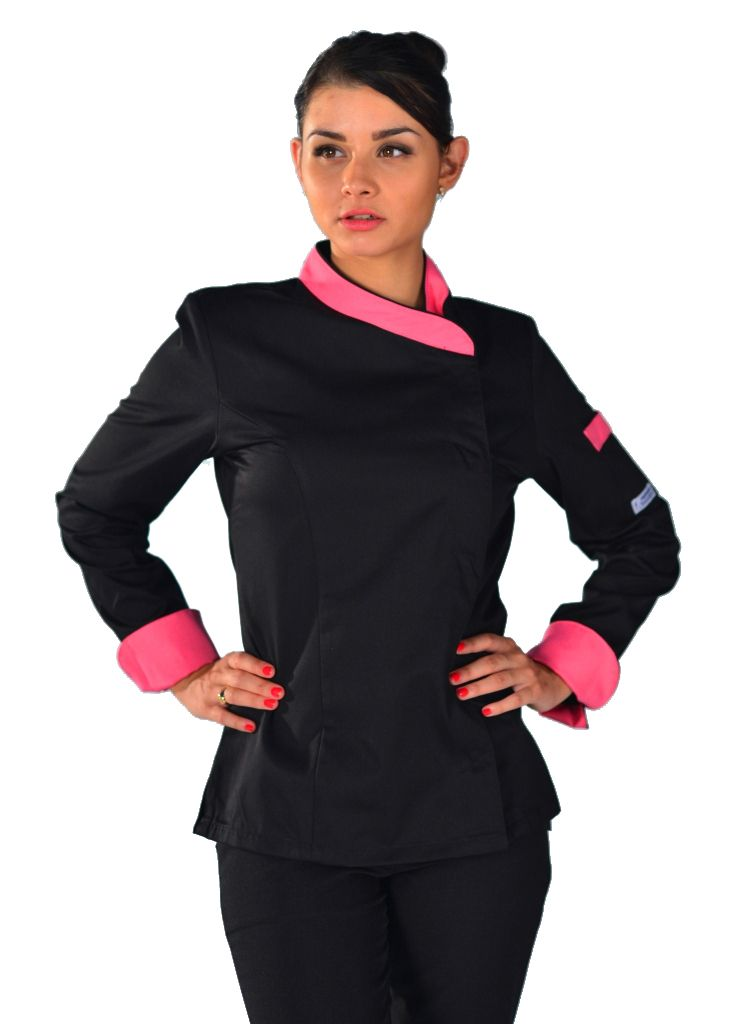 Veste de cuisine femme noire et rose manches longues model