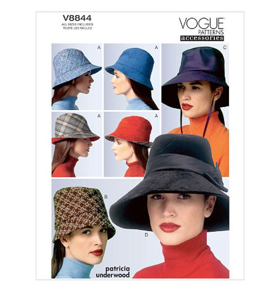 82e3206d2dd VOGUE HAT PATTERN Fedora Bucket Hat Patterns Wide Brim Hats Vogue 8844  Patricia Underwood UNCuT Millinery Accessories Womens Sewing Patterns by ...
