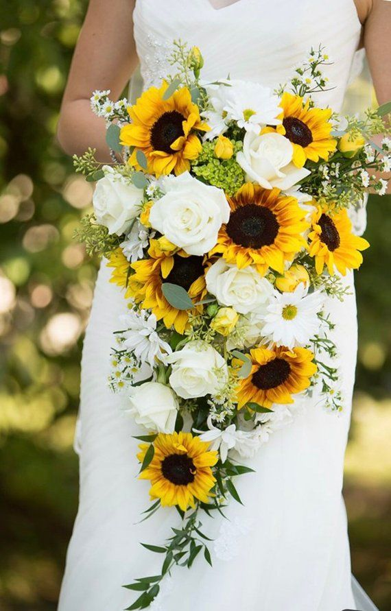 Sunflower bridal bouquet, cascading bouquet, wedding bouquet, bride bouquet, ivory bouquet, greenery bouquet, made to order