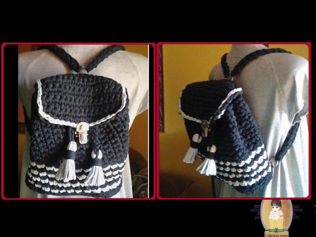 شنطة ضهر بخيوط التيشرت خطوه بخطوه Crochet Back Bag Tutorial Step By Step Bags Fashion Backpack Fashion