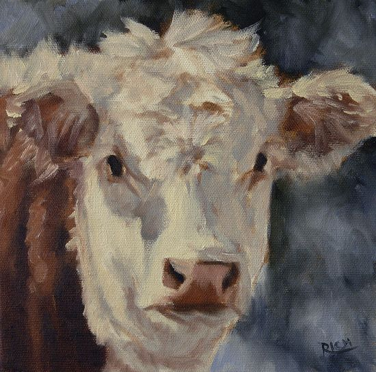 """Fuzzy Hereford Study by denise rich Oil ~ 8"""" x 8"""""""