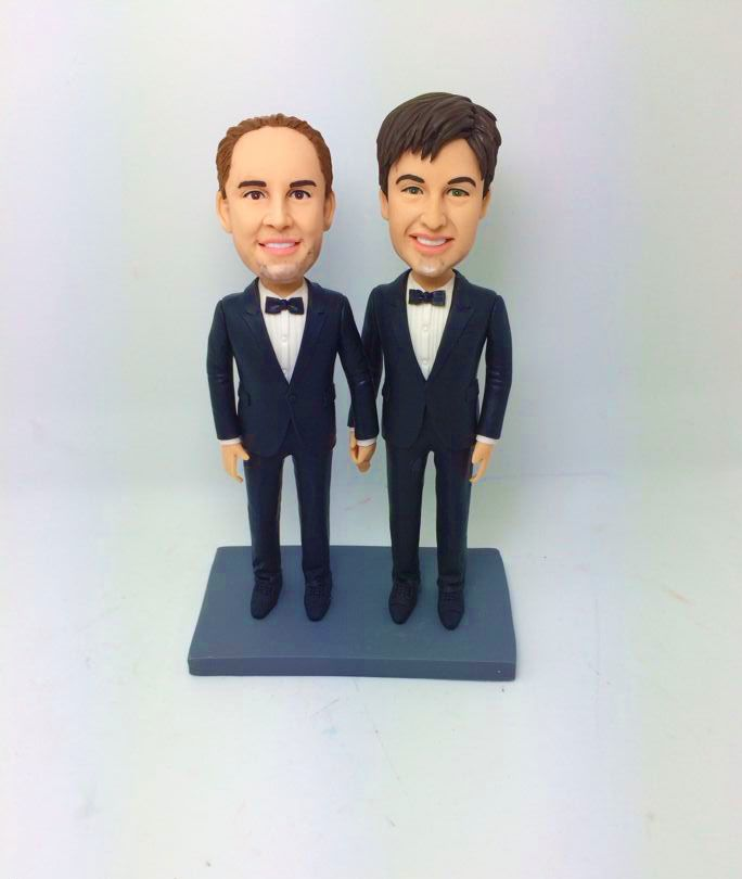 Gay Wedding Cake Topper - Two Grooms by My Memory Dolls LGBT ...
