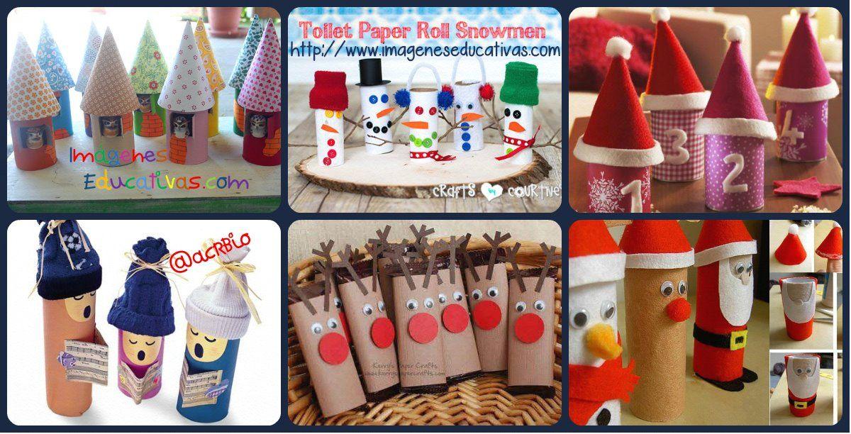 Nuevas Manualidades navideñas para niños reciclando rollos de papel
