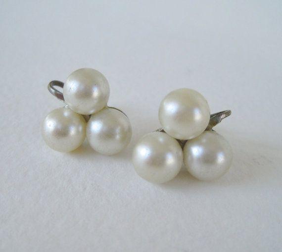 Vintage 60s Traditional Preppy Faux Pearl Cluster Earrings by ThePaisleyUnicorn, $5.00