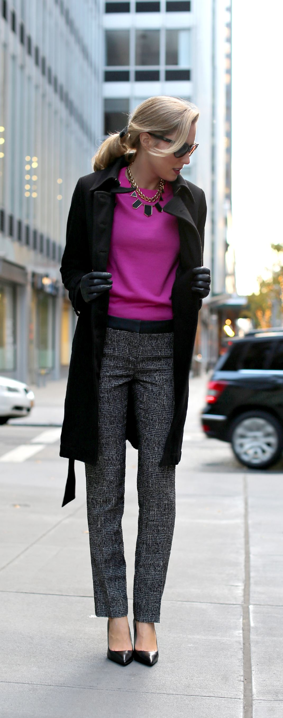 The Classy Cubicle: Fuchsia {express, j. crew, ralph lauren, coach, prada, marc jacobs, work wear, office style, tweed pants with leather details, house of harlow}